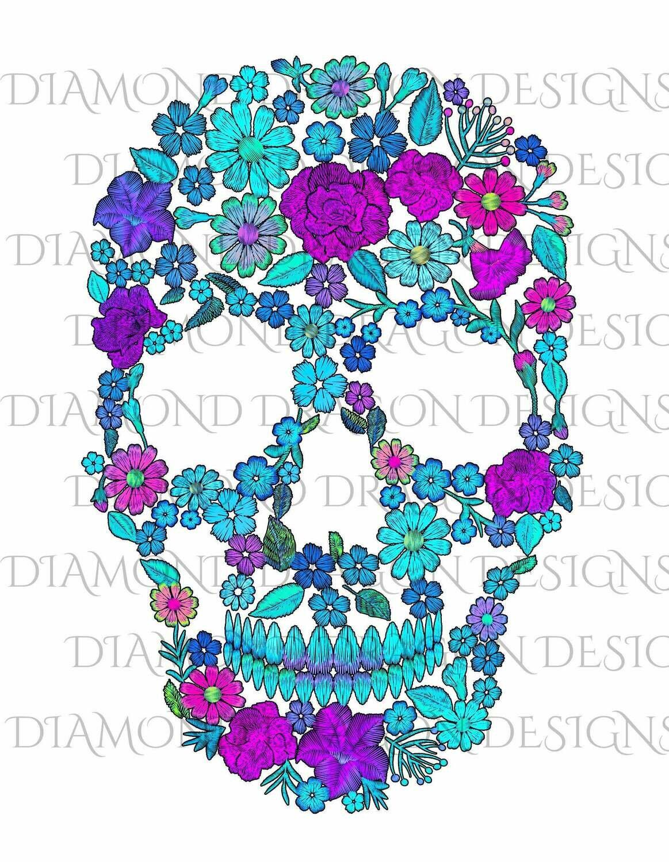 Skulls - Sugar Skull, Colorful Flowers Skull, Floral Sugar Skull, Digital Image