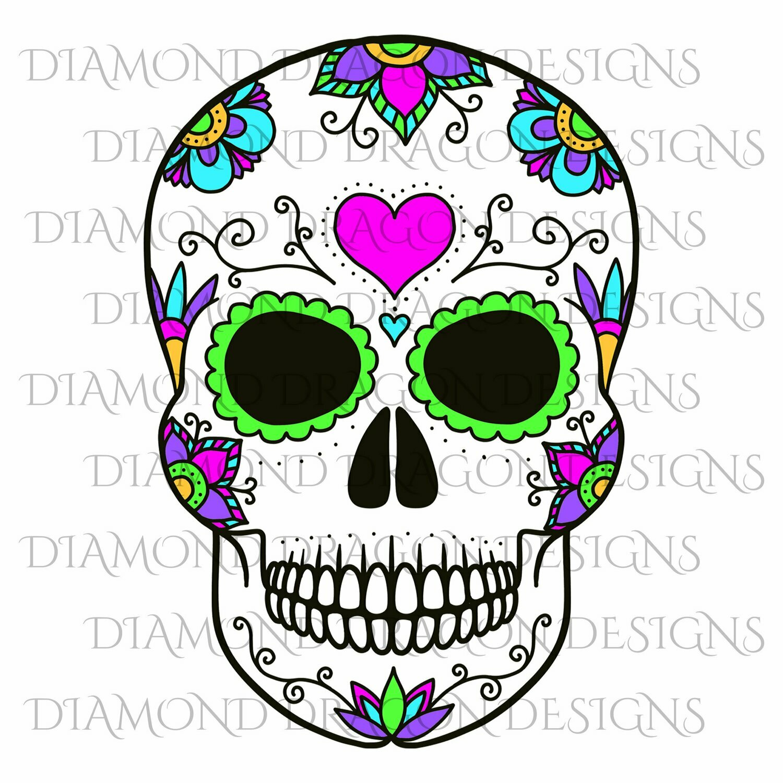 Skulls - Sugar Skull, Flowers Heart Skull, Floral Sugar Skull, Digital Image