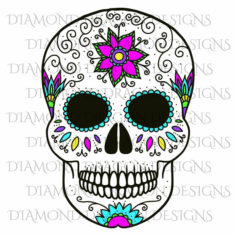 Skulls - Sugar Skull, Colorful Flower Skull, Floral Sugar Skull, Digital Image
