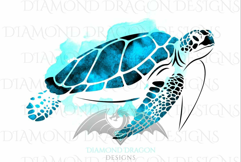Turtles - Sea Turtle, Watercolor Sea Turtle, Aqua Blue Sea Turtle, Digital Image