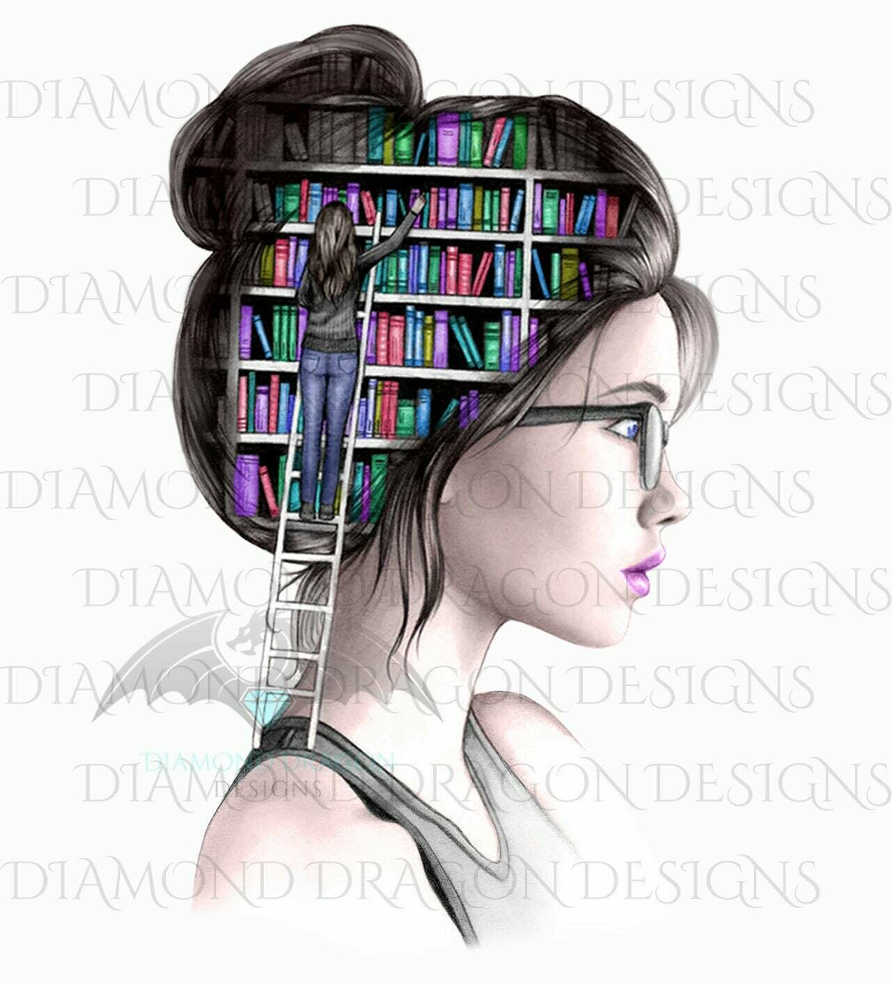 Books - Lady Library, Book Girl, Book Lover, Pastel, Digital Image