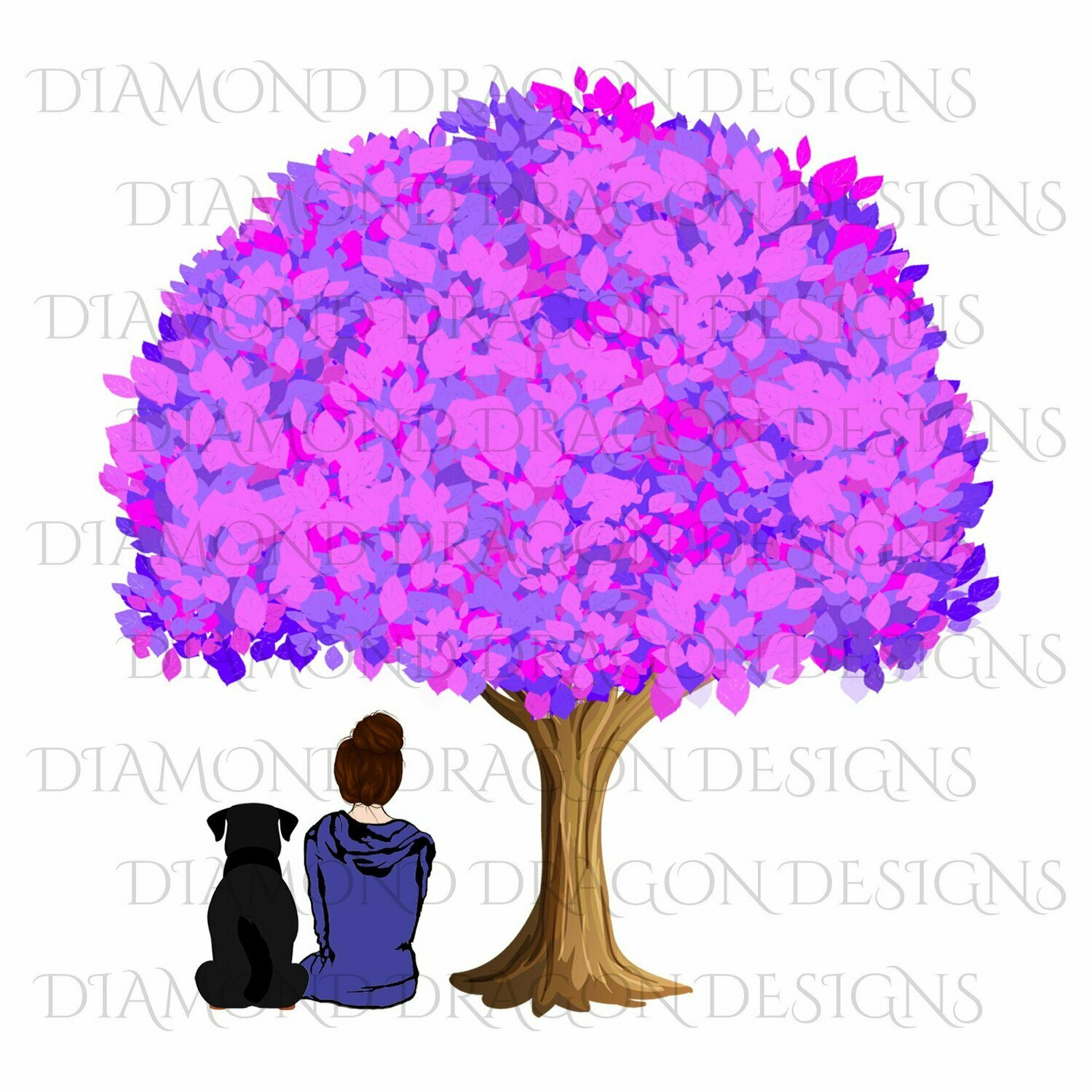 Dogs - Girl Who Loves Dogs, Girl & Dog Under Tree, Girls Best Friend, Woman and Dog Under Tree, Digital Image