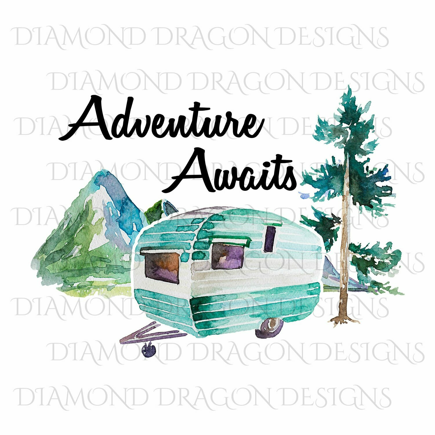 Camping - Watercolor Camper, Adventure Awaits, Quote, Digital Image