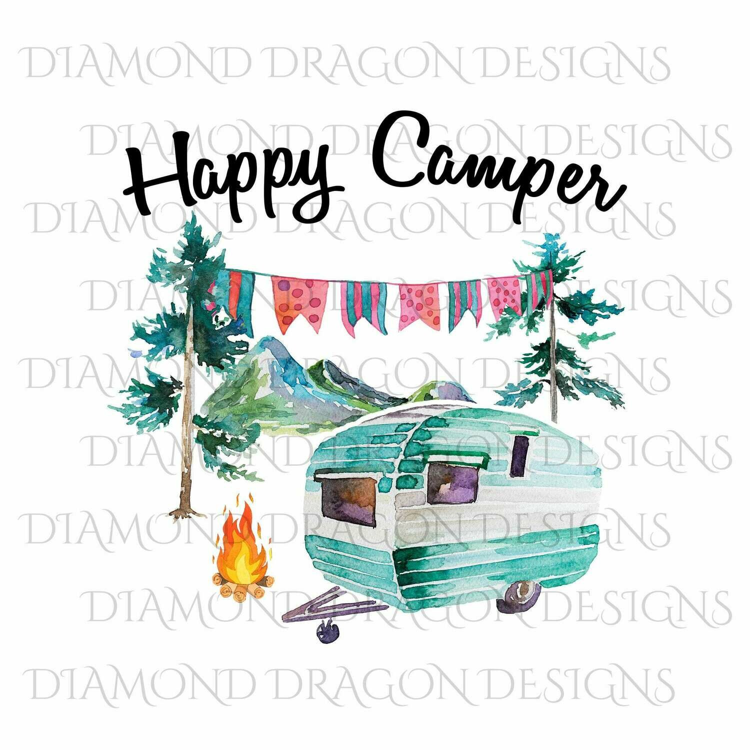 Camping - Happy Camper, Watercolor Camper, Happy Camper Quote, Digital Image