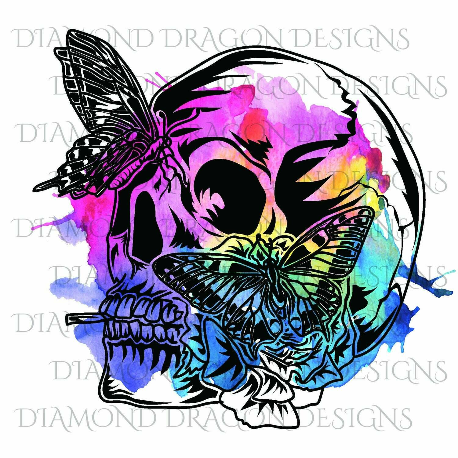 Skulls - Butterfly, Skull, Rainbow, Watercolor, Digital Image