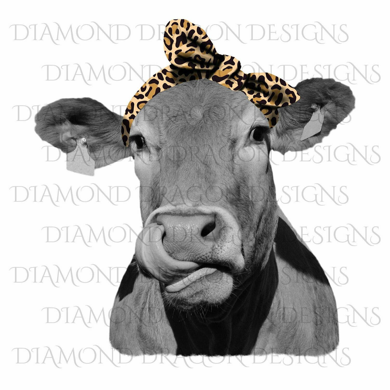 Cows - Heifer, Cute Cow, Bandana, Leopard Print Bandana, Cowlick, Cow Tongue Out, Digital Image