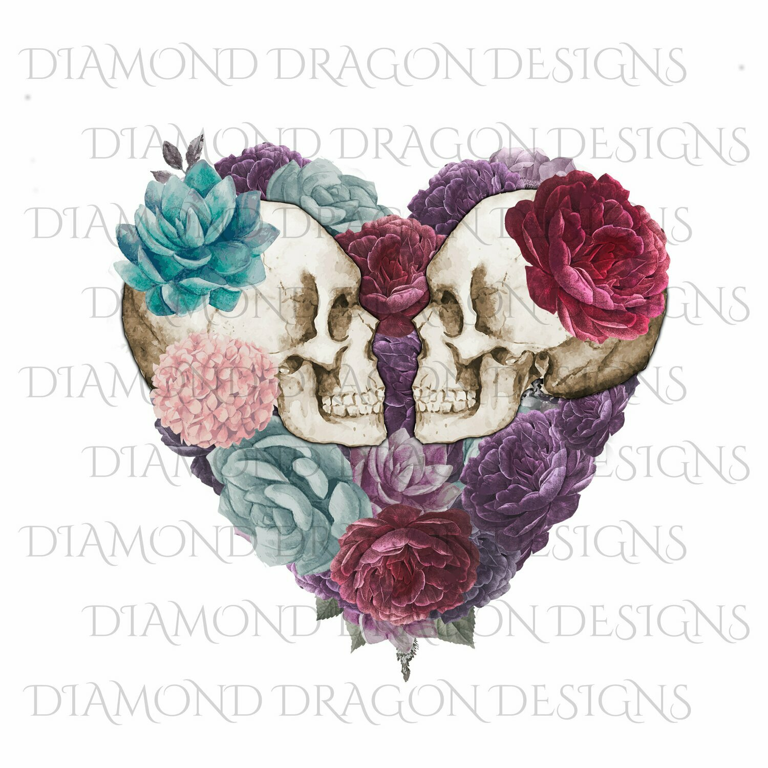 Skulls - Floral Skull, Skulls, Vintage Floral Skull, Heart, Skull with Flowers, Floral Heart Skull, Watercolor, Digital Image