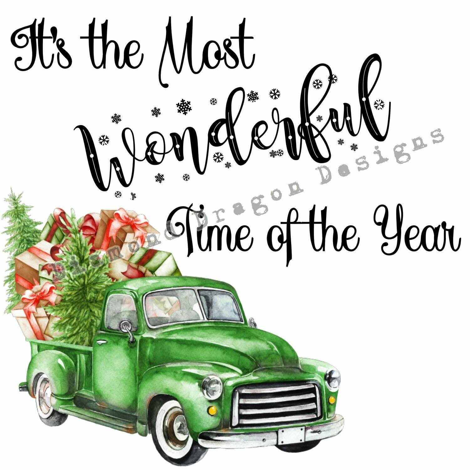 Christmas - Truck, Christmas Tree, It's the most wonderful time, Green Vintage Truck, Digital Image