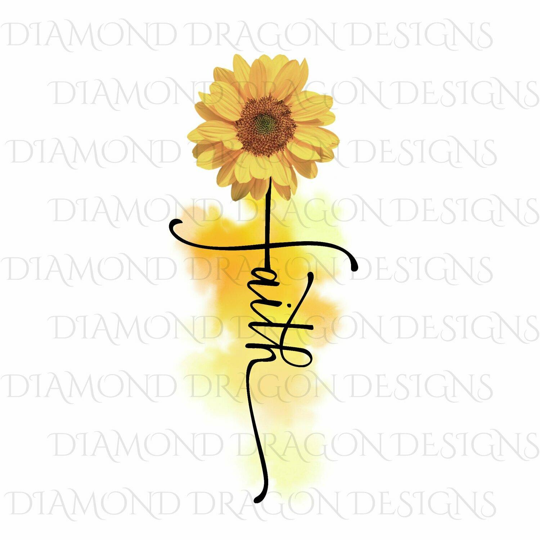 Faith  - Faith Cross Image, Yellow Sunflower, Faith Cross, Watercolor, Digital Image