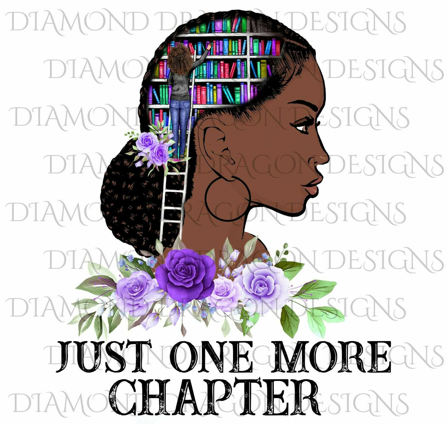 Books - Just One More Chapter, Lady Library, Purple Floral, Digital Image
