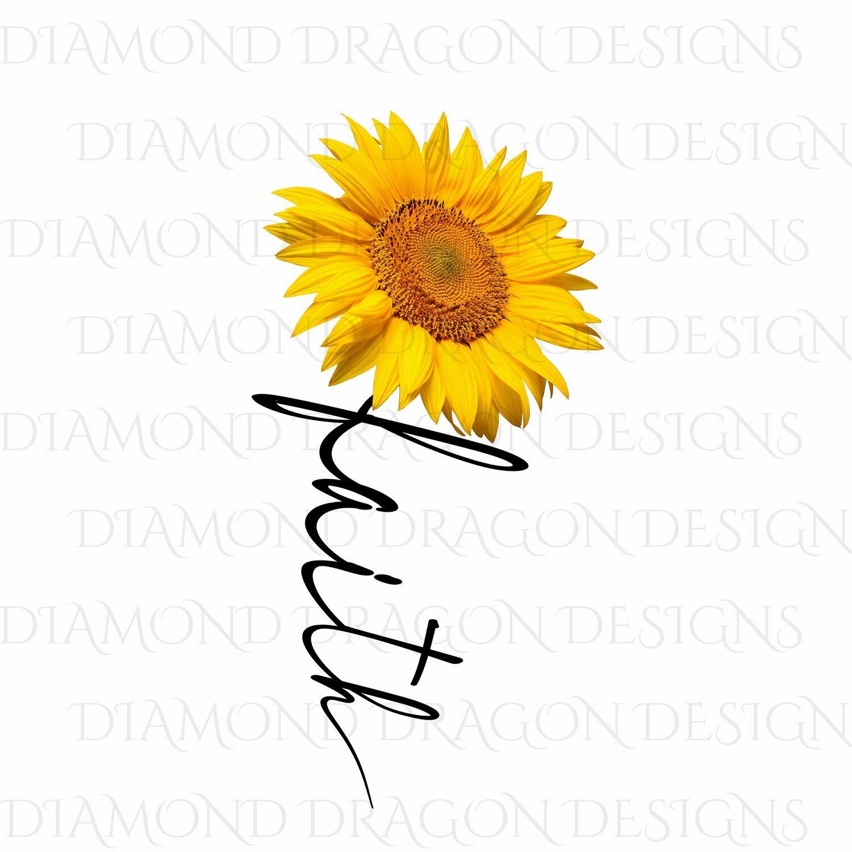 Faith - Faith Cross Image, Yellow Sunflower, Faith Cross, 3D, Digital Image