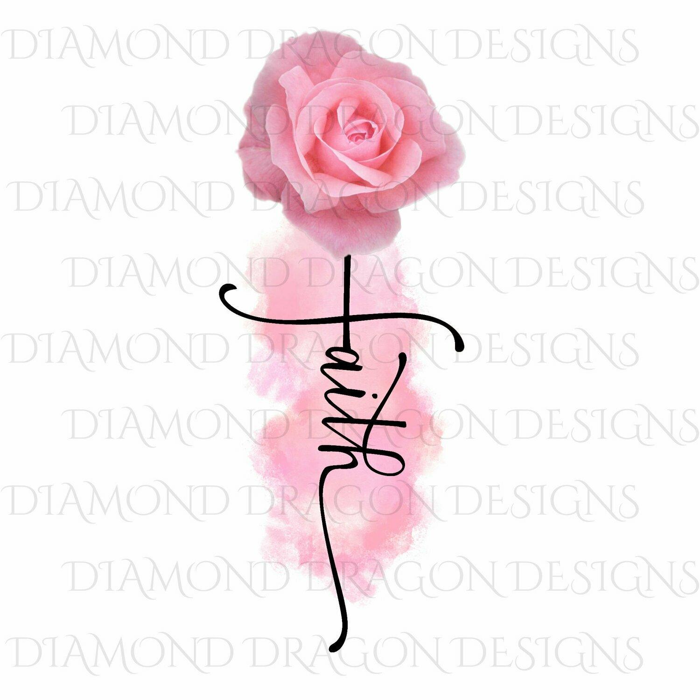 Faith - Pink Rose, Faith Cross, Watercolor, Digital Image
