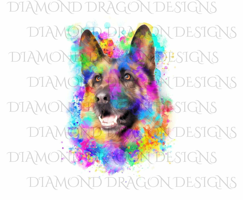 Dogs - Watercolor German Shepard, Rainbow German Shepard, Watercolor dog, Digital Image