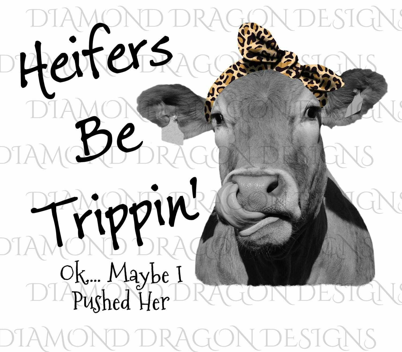 Cows - Heifer, Heifers Be Trippin, Leopard Bandana, Leopard Print, Cowlick, Cute Cow Tongue, Digital Image