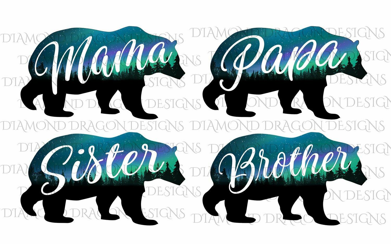 Bears - Mama Bear Image, Papa Bear, Brother, Sister, Bear, Silhouette, Forest, Trees, Aurora Borealis, Digital Image
