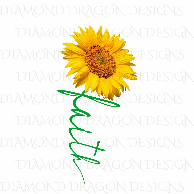 Faith -  Cross Faith Image, Yellow Sunflower, Faith Cross, 3D Green, Digital Image