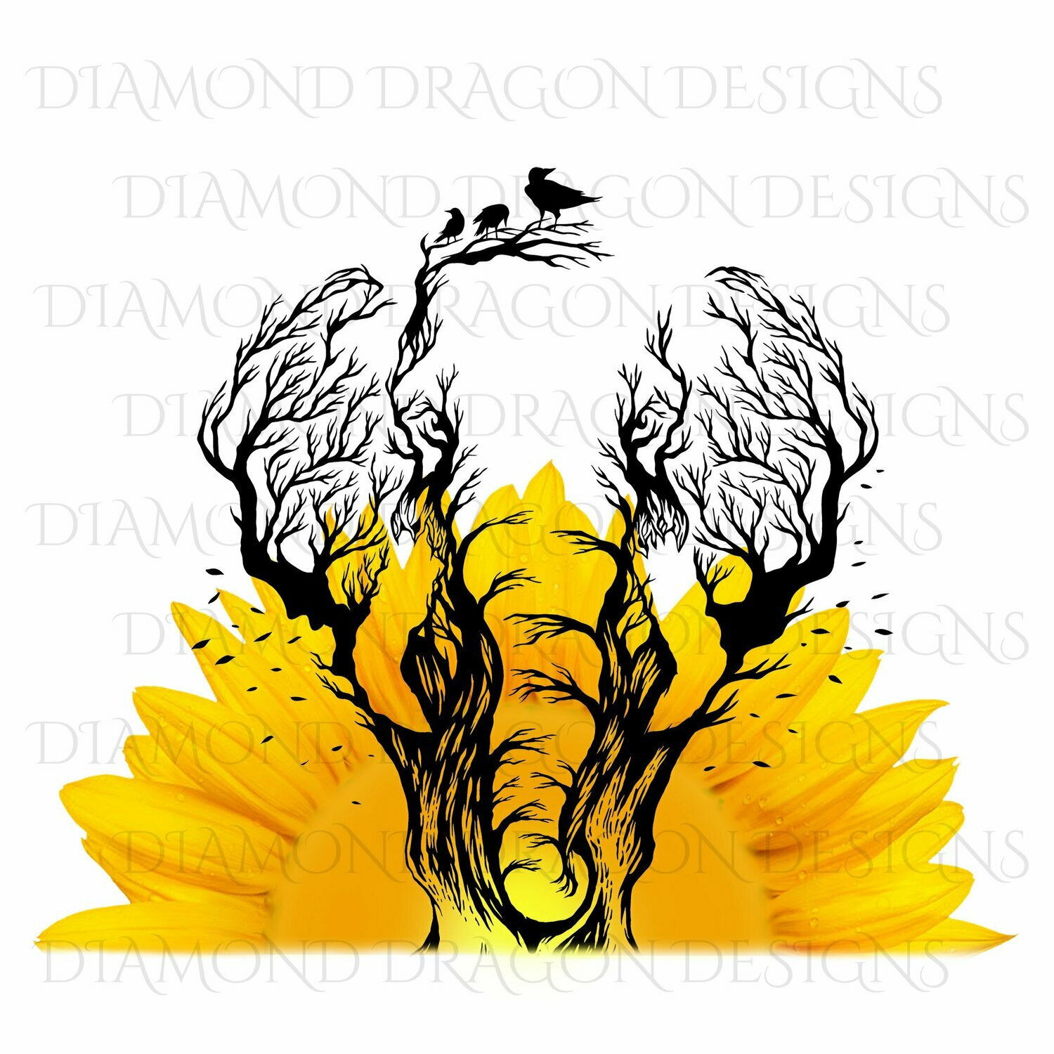Elephants - Sunflower Elephant, Sunflower Sunrise, Elephant Tree Drawing, Digital Image