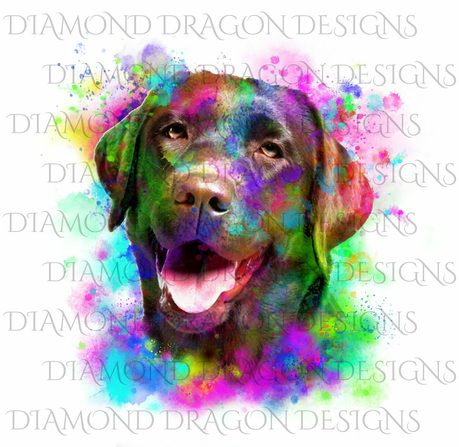 Dogs - Watercolor Lab, Labrador, Rainbow Labrador, Watercolor dog, Digital Image