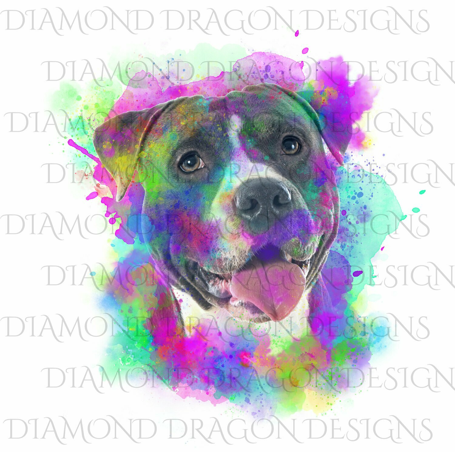 Dogs - Watercolor Pitbull, Rainbow Pitbull, Watercolor dog, Colorful, Blue Pitbull, Digital Image