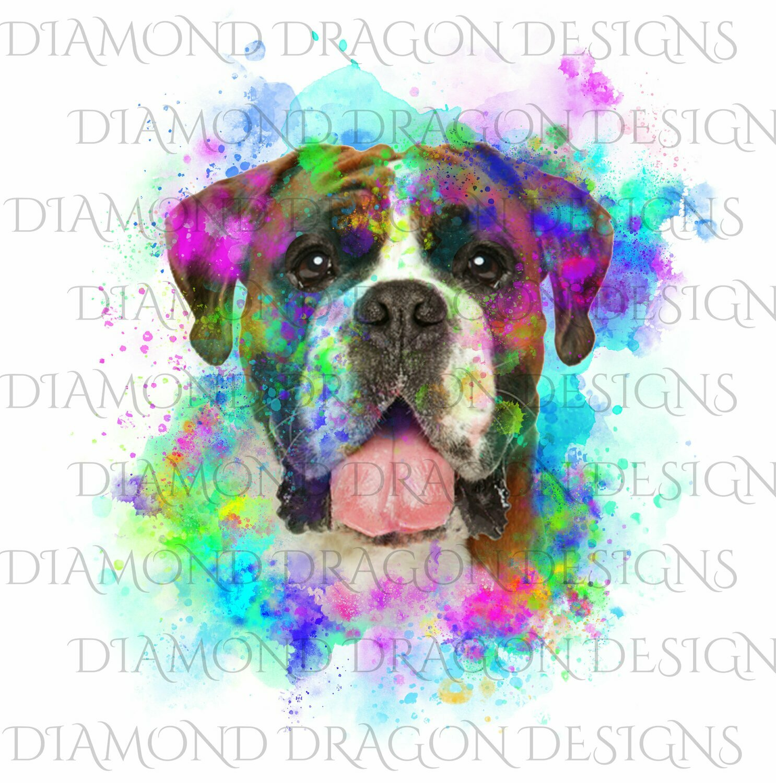 Dogs - Watercolor Boxer, Rainbow boxer, Watercolor dog, Digital Image