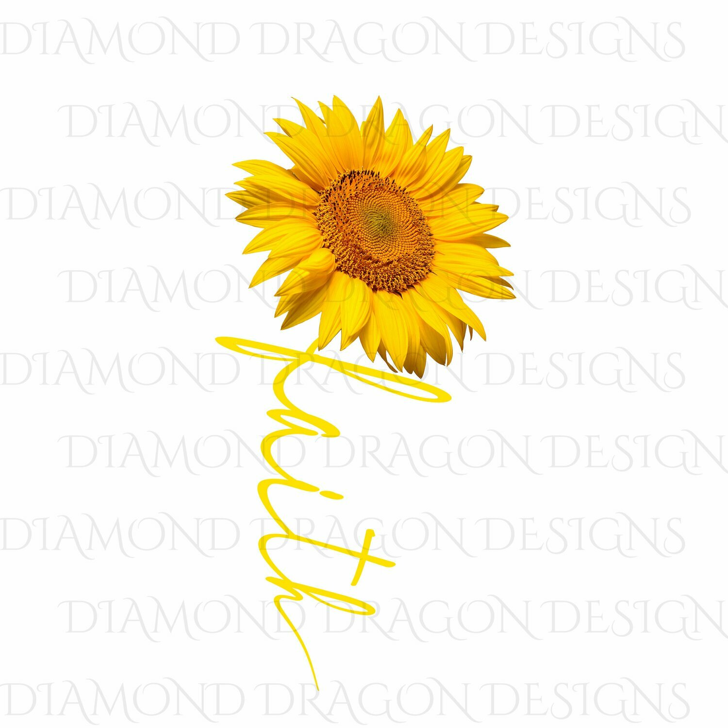 Faith - Faith Cross Image, Yellow Sunflower, Faith Cross, 3D Yellow, Digital Image