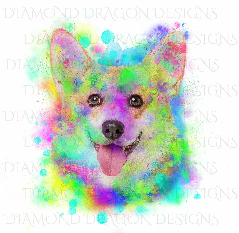 Dogs - Watercolor Corgi, Rainbow Corgi, Watercolor dog, Digital Image