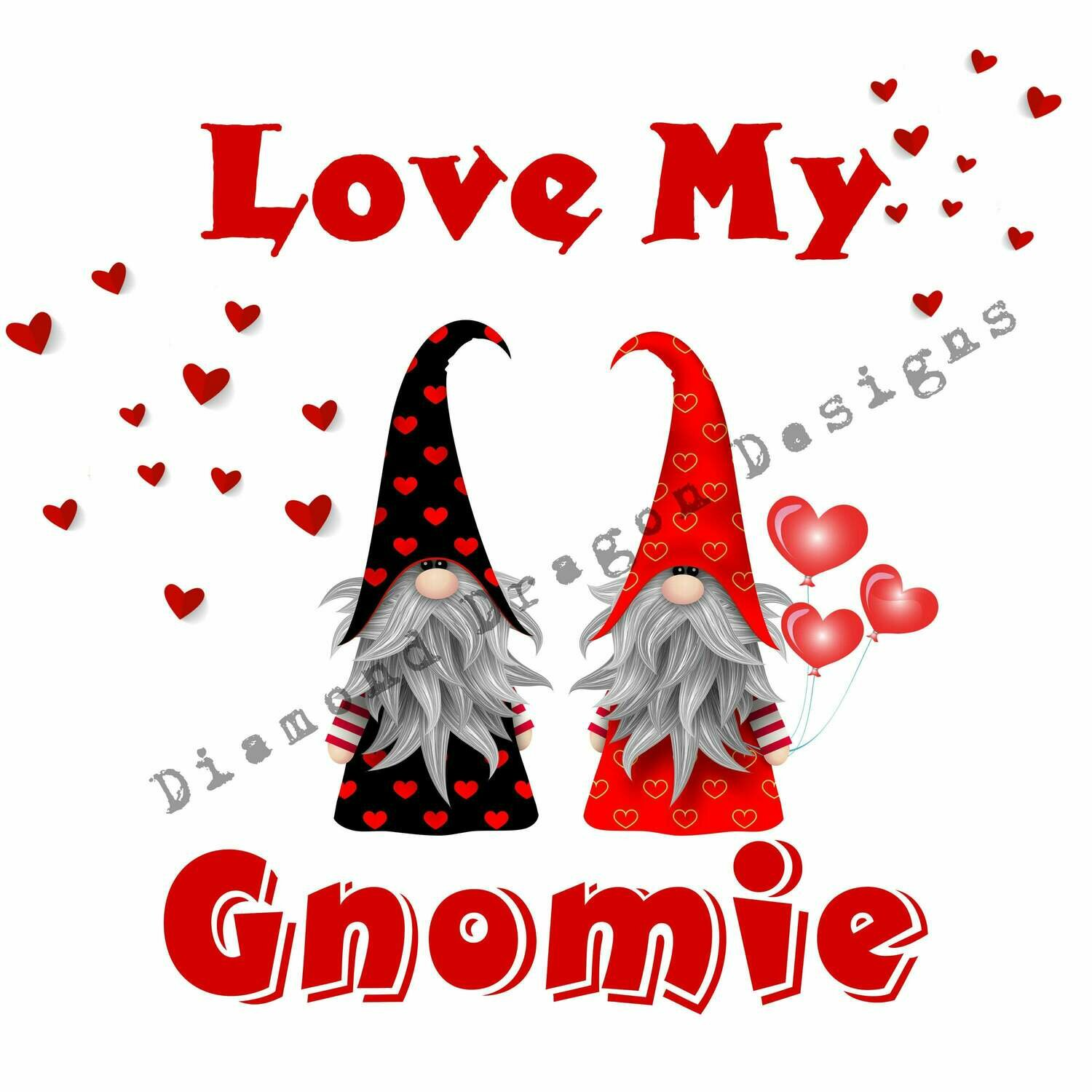 Gnomes - Valentines Gnomes, Love My Gnomie, Valentines Day, Friends, Best Friends, Quote, 2 Gnomes, Digital Image