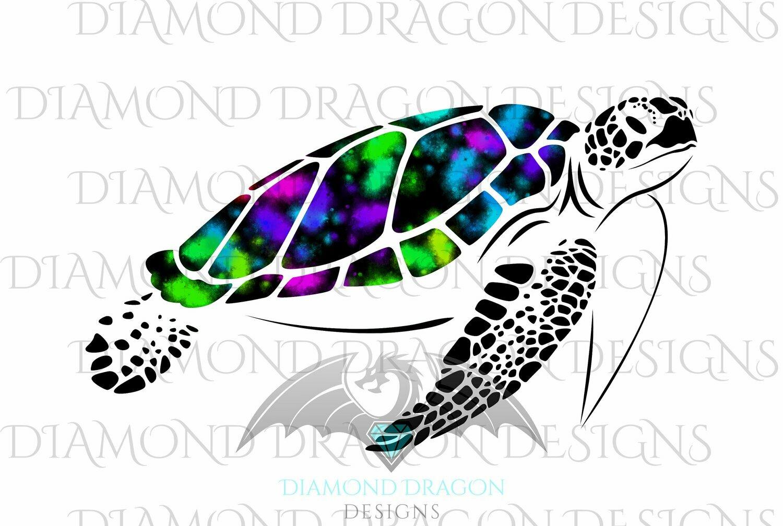 Turtles - Sea Turtle, Galaxy Sea Turtle, Rainbow Sea Turtle, Colorful Turtle, Digital Image
