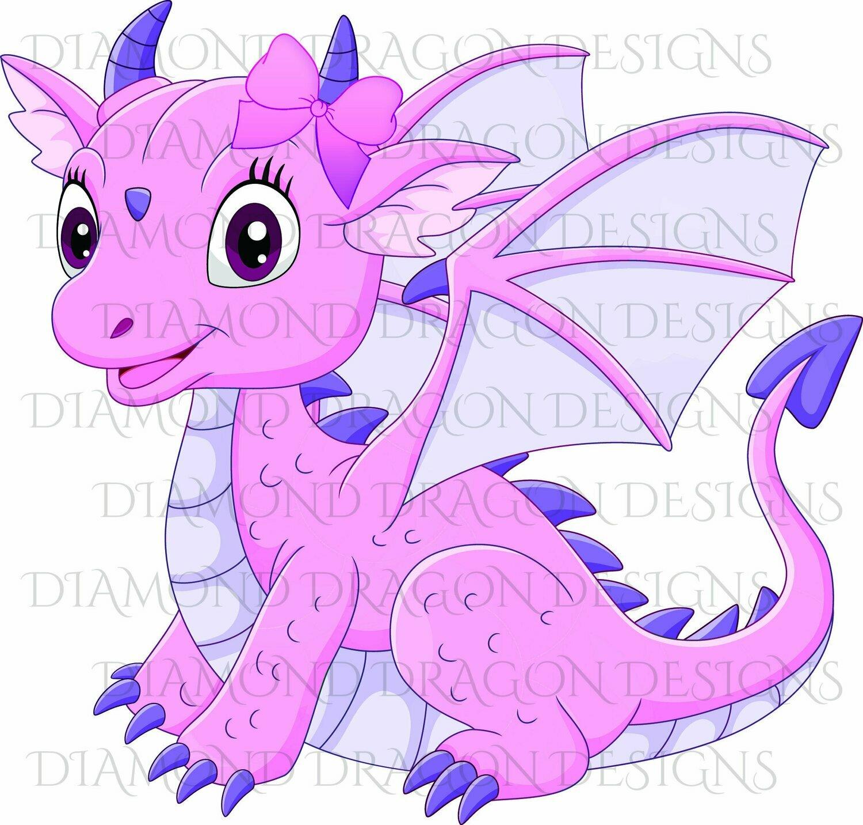 Kids - Cute Girl Dragon, Baby Dragon, Cute Little Girl Dragon, Cute Pink Dragon, Digital Image