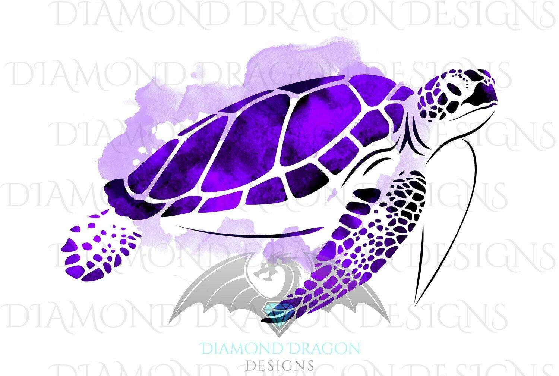 Turtles - Sea Turtle, Watercolor Sea Turtle, Purple Amethyst Sea Turtle, Digital Image