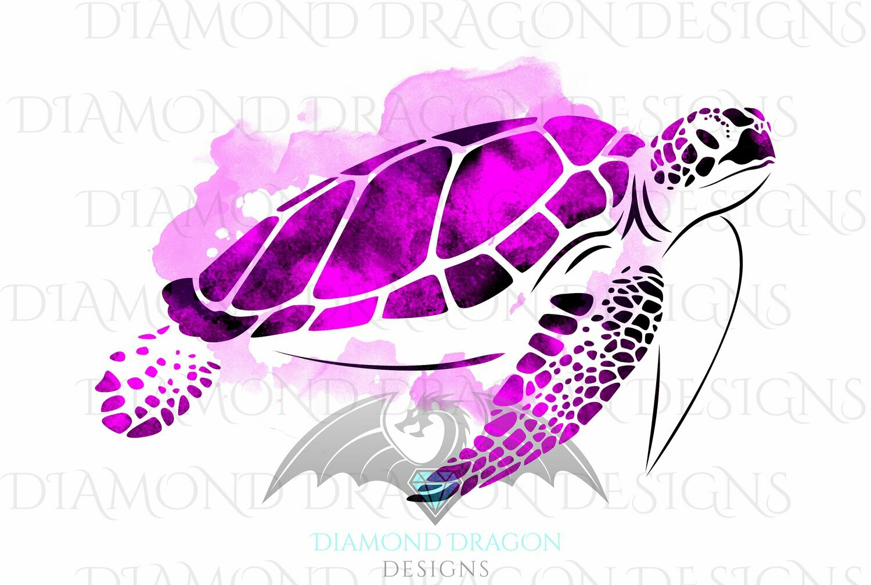 Turtles - Sea Turtle, Watercolor Sea Turtle, Pink Sea Turtle, Digital Image