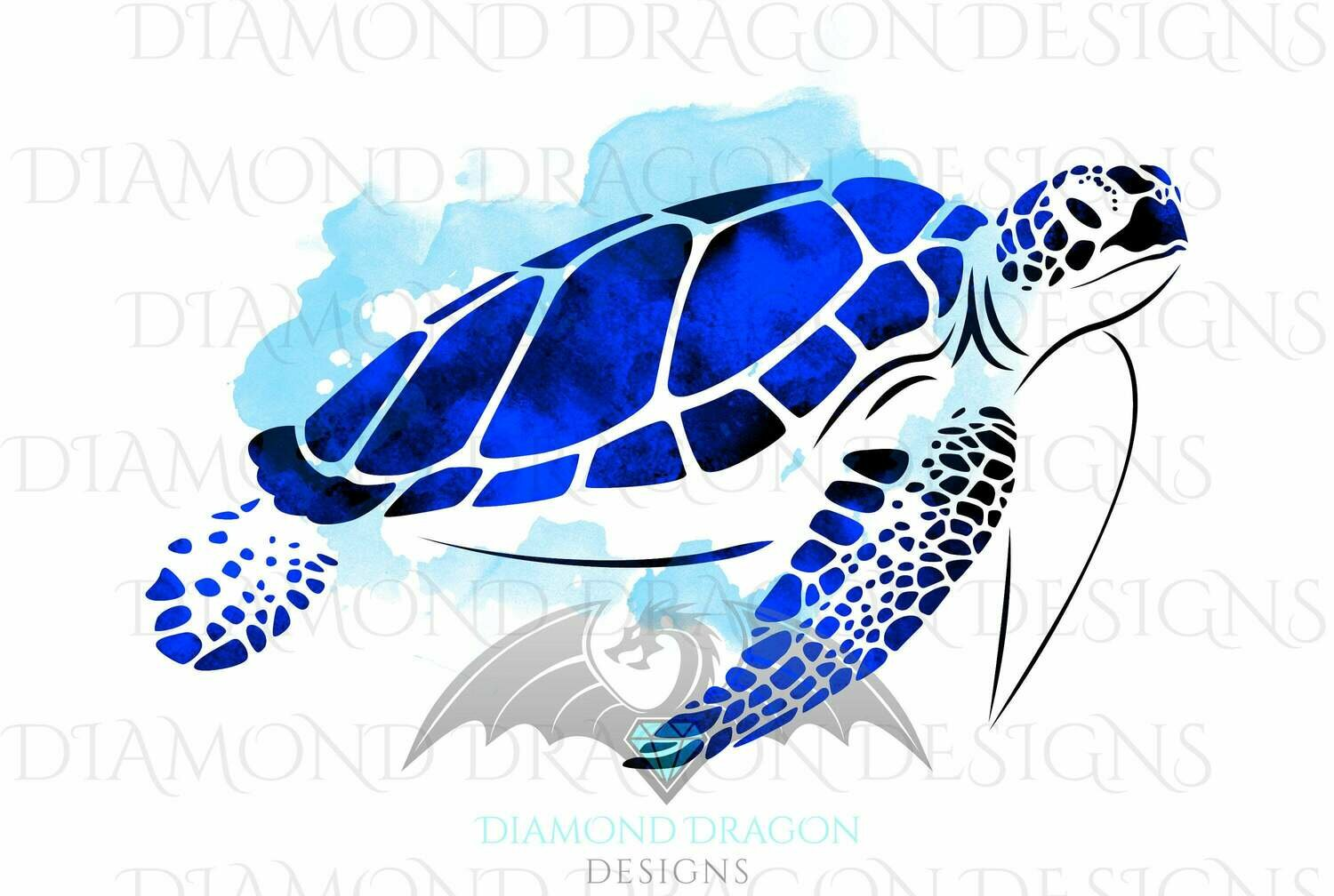 Turtles - Sea Turtle, Watercolor Sea Turtle, Sapphire Blue Sea Turtle, Digital Image