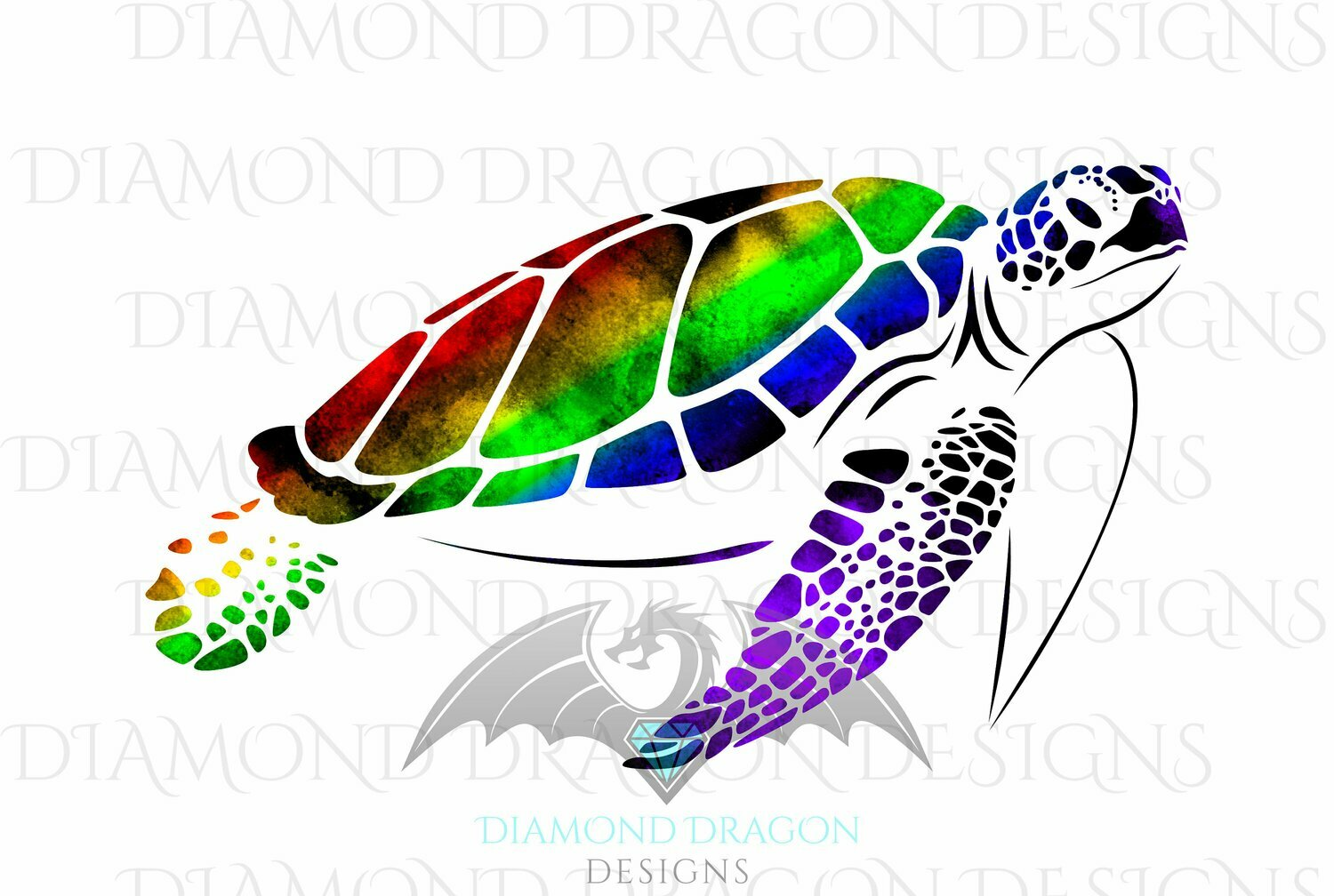 Turtles - Sea Turtle, Watercolor Sea Turtle, Rainbow Sea Turtle, Digital Image