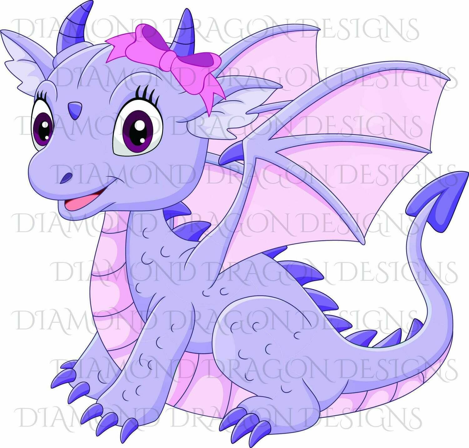 Kids - Cute Girl Dragon, Baby Dragon, Cute Little Girl Dragon, Purple Pink Bow, Digital Image