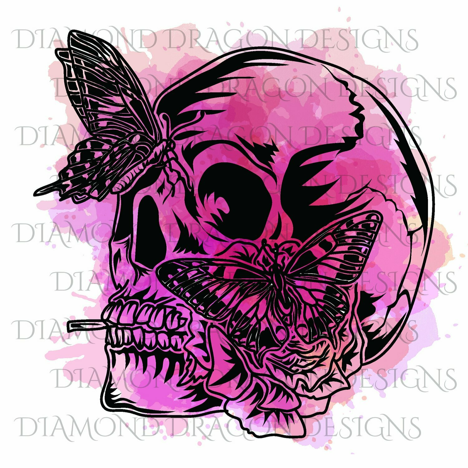 Skulls - Butterfly Skull, Pink, Watercolor, Digital Image