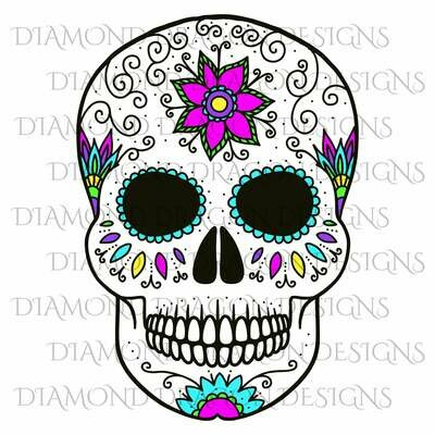 Skulls - Sugar Skull, Colorful Flower Skull, Floral Sugar Skull, Digital Image