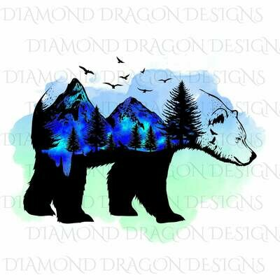 Bears - Bear Silhouette, Bear Mountains, Aurora Borealis, Watercolor Bear, Digital Image