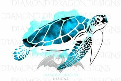 Turtles - Sea Turtle, Watercolor Sea Turtle, Aqua Blue Sea Turtle, Digital Image