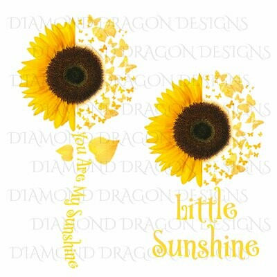 Sunflower - Mommy & Me Set, You are My Sunshine, Little Sunshine, Half Sunflower, Butterflies, Digital Image