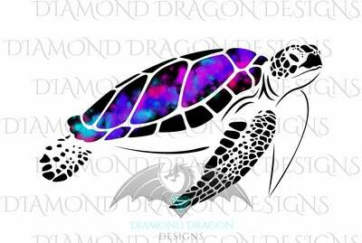 Turtles - Sea Turtle, Galaxy Sea Turtle, Rainbow Sea Turtle, Watercolor Sea Turtle, Digital Image
