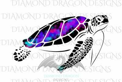 Turtles - Sea Turtle, Galaxy Sea Turtle, Rainbow Sea Turtle, Watercolor Sea Turtle, Digital Image