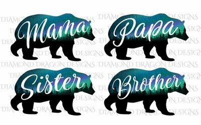 Bears - Mama Bear Image, Papa Bear, Brother, Sister, Bear, Silhouette, Forest, Trees, Aurora Borealis, Digital Image