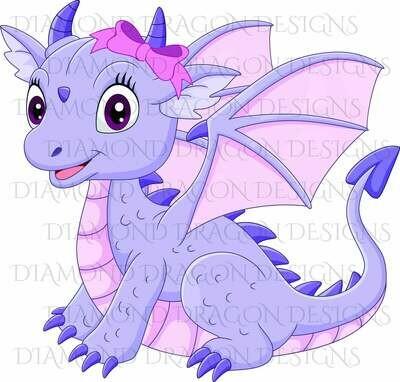 Kids - Cute Girl Dragon, Baby Dragon, Cute Little Girl Dragon, Purple Pink Bow, Digital Image