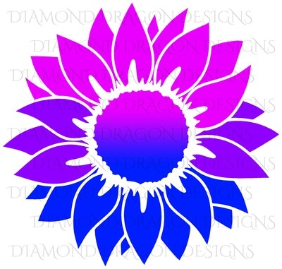 Sunflower - Pink Purple Blue, Pride, Sunflower, Drawing, Digital Image