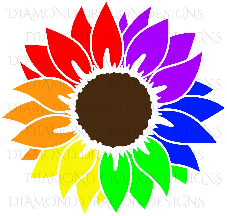 Sunflower - Rainbow, Pride, Sunflower, Drawing, Digital Image