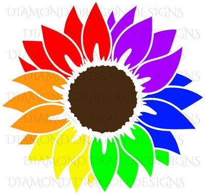 Sunflower - Rainbow, Pride, Sunflower, Drawing, Digital Image