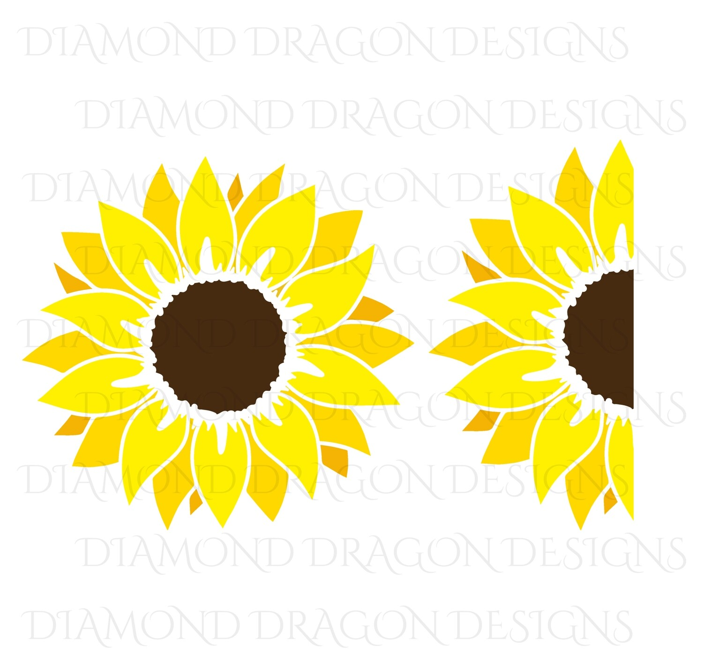 Sunflower - Yellow Sunflower, 2 Image Bundle, Drawing, Digital Image