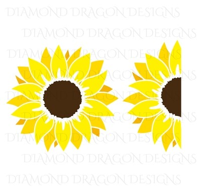 Sunflower - Yellow Sunflower, 2 Image Bundle, Drawing, Digital Image