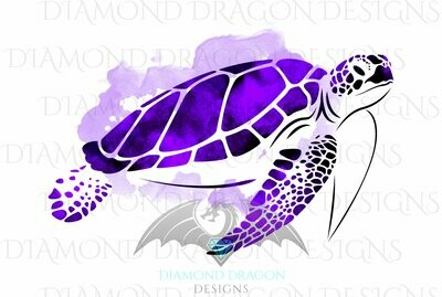 Turtles - Sea Turtle, Watercolor Sea Turtle, Purple Amethyst Sea Turtle, Digital Image