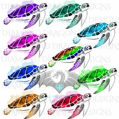 Turtles - Sea Turtle, Watercolor Sea Turtle, 9 Image Bundle, Rainbow Sea Turtle, Digital Image